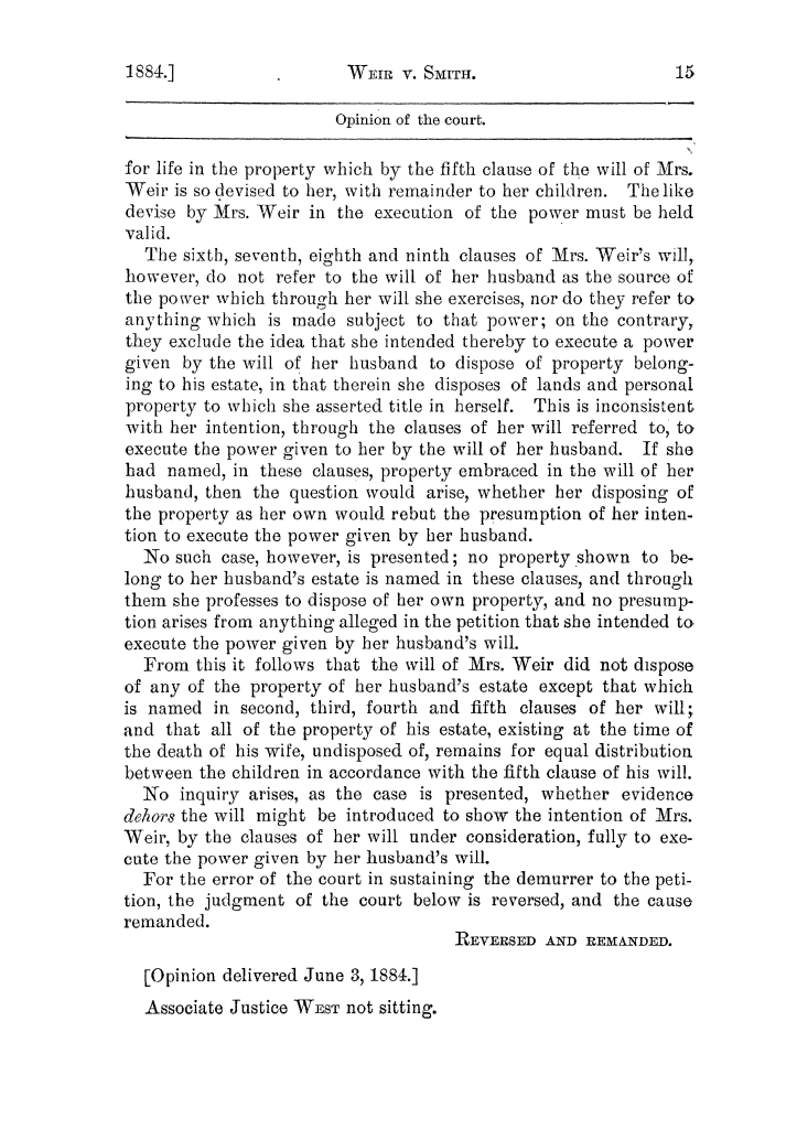 Cases argued and decided in the Supreme Court of the State of Texas, during the latter part of the Austin term, 1884, and the Tyler term, 1884.  Volume 62.                                                                                                      15