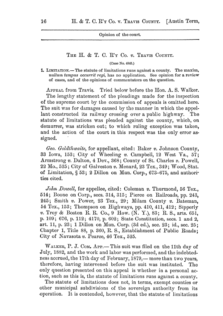 Cases argued and decided in the Supreme Court of the State of Texas, during the latter part of the Austin term, 1884, and the Tyler term, 1884.  Volume 62.                                                                                                      16