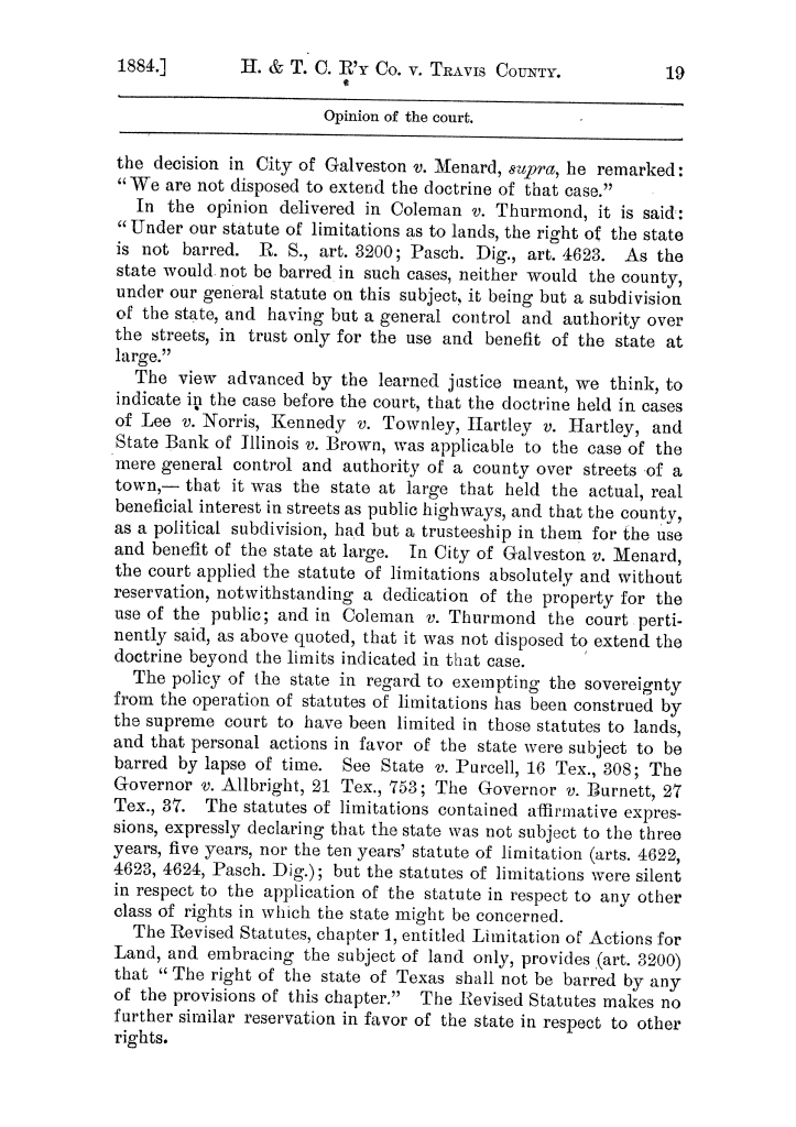 Cases argued and decided in the Supreme Court of the State of Texas, during the latter part of the Austin term, 1884, and the Tyler term, 1884.  Volume 62.                                                                                                      19