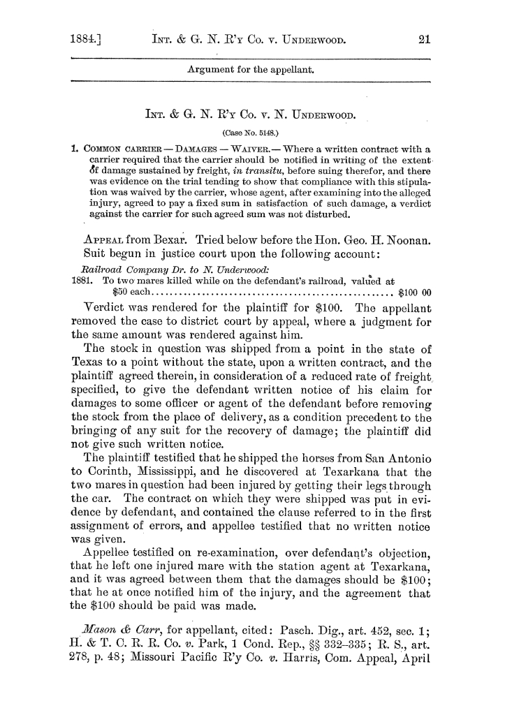 Cases argued and decided in the Supreme Court of the State of Texas, during the latter part of the Austin term, 1884, and the Tyler term, 1884.  Volume 62.                                                                                                      21