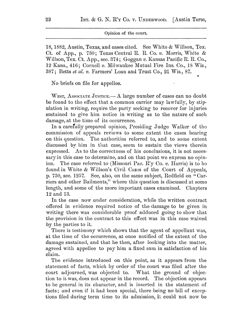 Cases argued and decided in the Supreme Court of the State of Texas, during the latter part of the Austin term, 1884, and the Tyler term, 1884.  Volume 62.                                                                                                      22