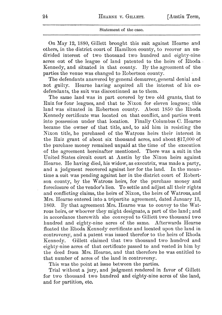 Cases argued and decided in the Supreme Court of the State of Texas, during the latter part of the Austin term, 1884, and the Tyler term, 1884.  Volume 62.                                                                                                      24