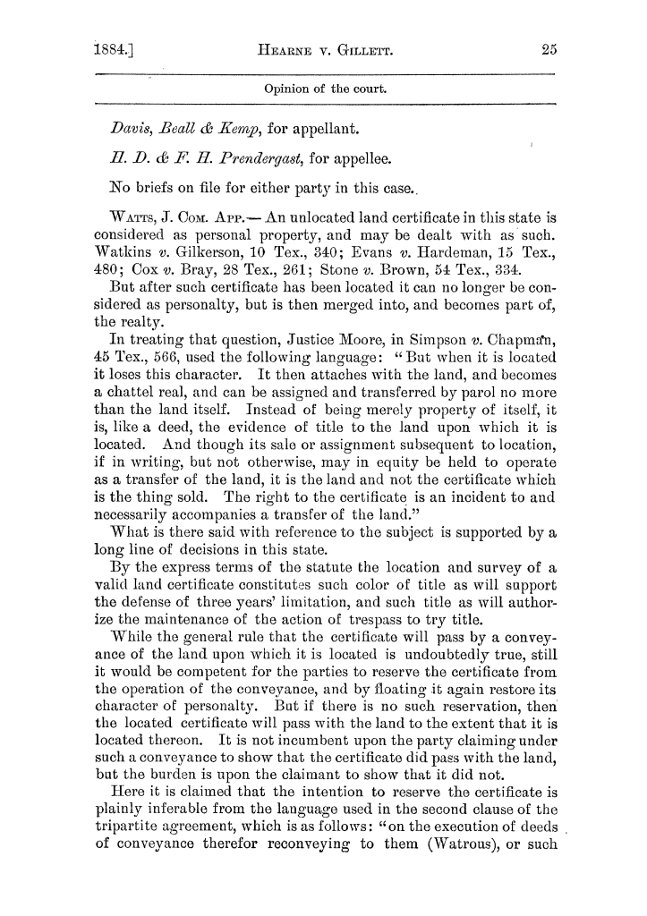 Cases argued and decided in the Supreme Court of the State of Texas, during the latter part of the Austin term, 1884, and the Tyler term, 1884.  Volume 62.                                                                                                      25