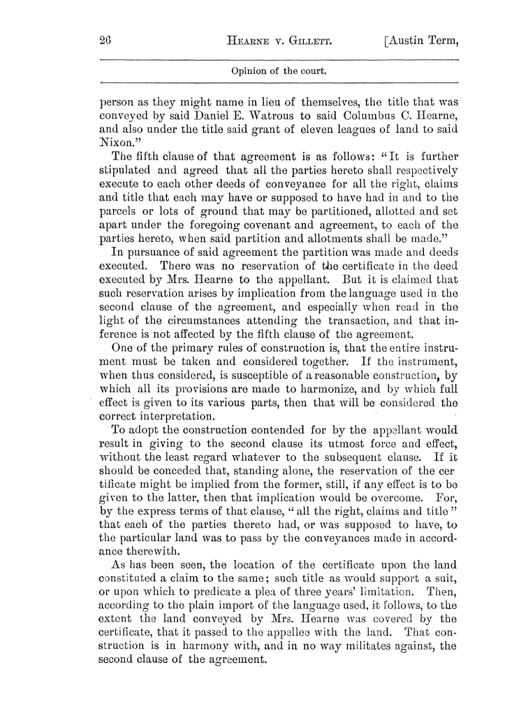 Cases argued and decided in the Supreme Court of the State of Texas, during the latter part of the Austin term, 1884, and the Tyler term, 1884.  Volume 62.                                                                                                      26