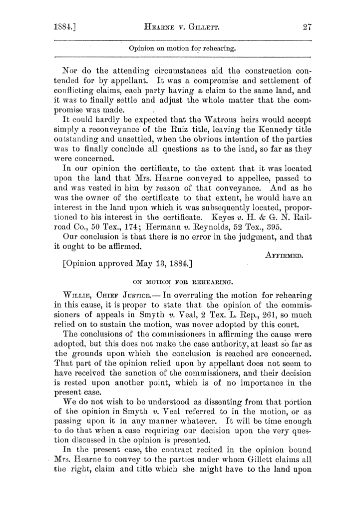 Cases argued and decided in the Supreme Court of the State of Texas, during the latter part of the Austin term, 1884, and the Tyler term, 1884.  Volume 62.                                                                                                      27