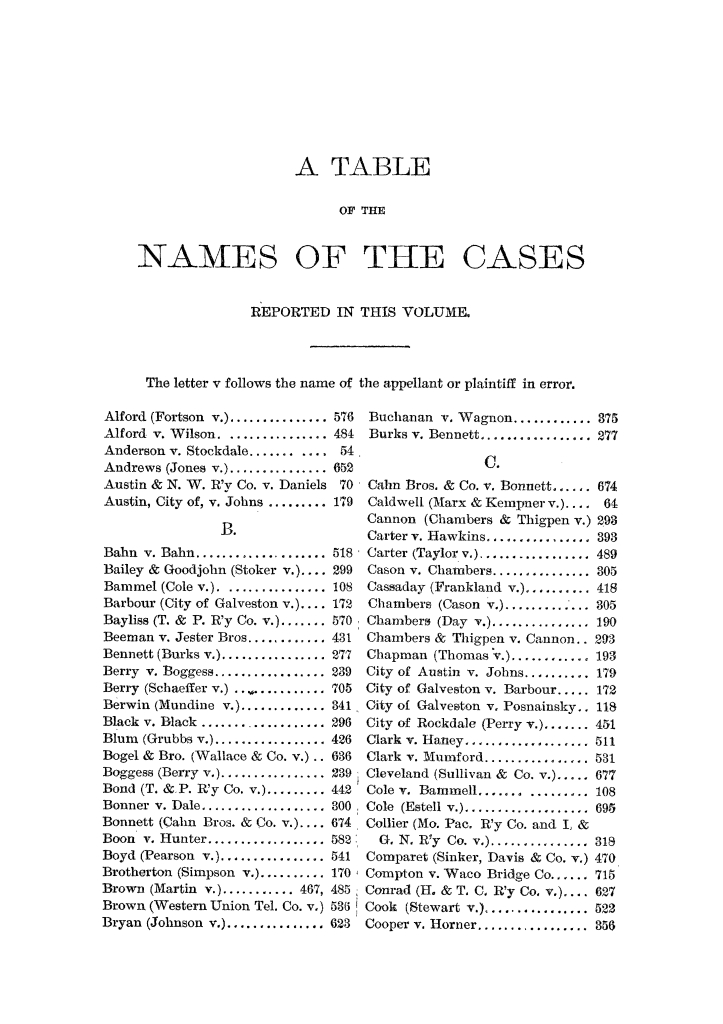 Cases argued and decided in the Supreme Court of the State of Texas, during the latter part of the Austin term, 1884, and the Tyler term, 1884.  Volume 62.                                                                                                      V