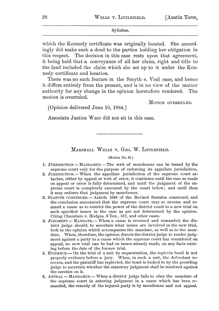 Cases argued and decided in the Supreme Court of the State of Texas, during the latter part of the Austin term, 1884, and the Tyler term, 1884.  Volume 62.                                                                                                      28