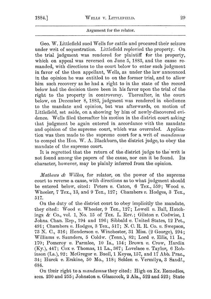 Cases argued and decided in the Supreme Court of the State of Texas, during the latter part of the Austin term, 1884, and the Tyler term, 1884.  Volume 62.                                                                                                      29