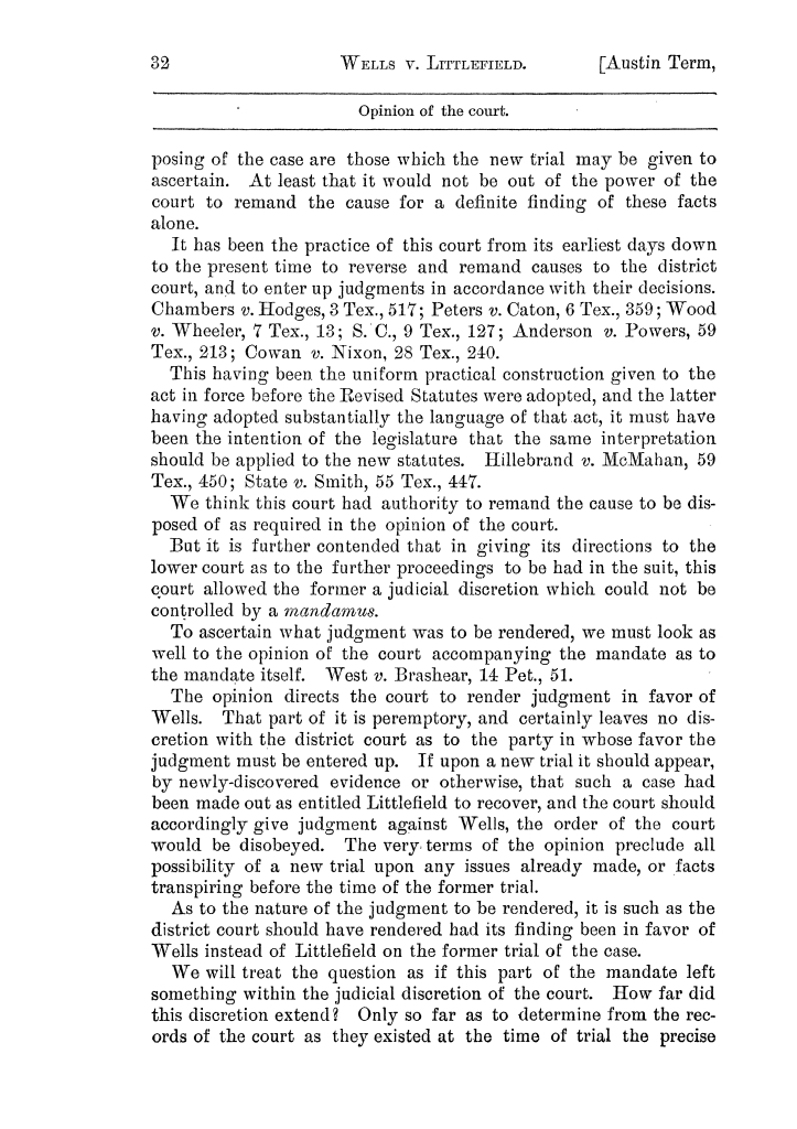 Cases argued and decided in the Supreme Court of the State of Texas, during the latter part of the Austin term, 1884, and the Tyler term, 1884.  Volume 62.                                                                                                      32
