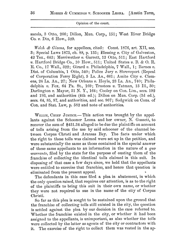Cases argued and decided in the Supreme Court of the State of Texas, during the latter part of the Austin term, 1884, and the Tyler term, 1884.  Volume 62.                                                                                                      36