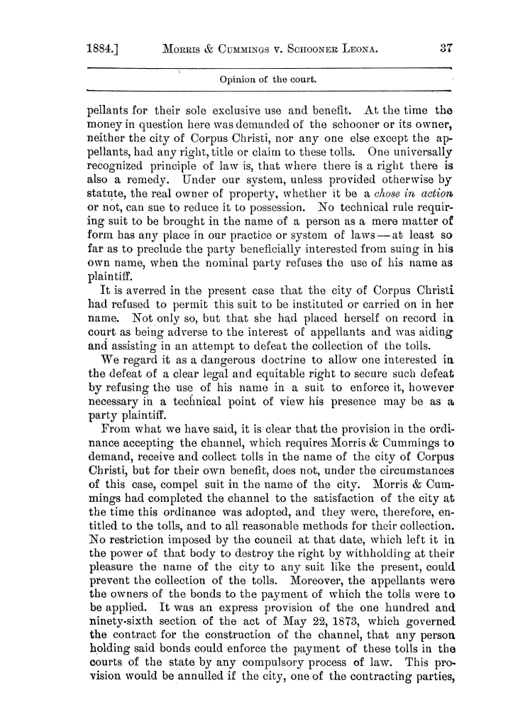 Cases argued and decided in the Supreme Court of the State of Texas, during the latter part of the Austin term, 1884, and the Tyler term, 1884.  Volume 62.                                                                                                      37
