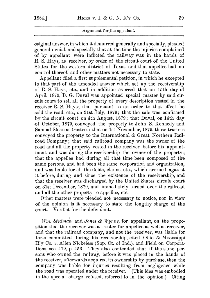 Cases argued and decided in the Supreme Court of the State of Texas, during the latter part of the Austin term, 1884, and the Tyler term, 1884.  Volume 62.                                                                                                      39