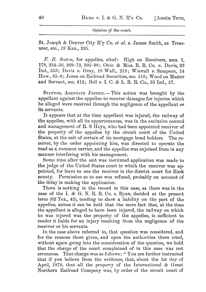 Cases argued and decided in the Supreme Court of the State of Texas, during the latter part of the Austin term, 1884, and the Tyler term, 1884.  Volume 62.                                                                                                      40