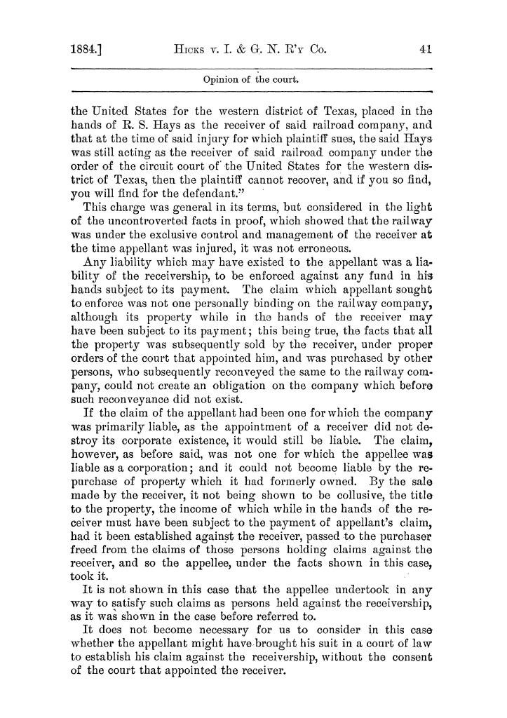 Cases argued and decided in the Supreme Court of the State of Texas, during the latter part of the Austin term, 1884, and the Tyler term, 1884.  Volume 62.                                                                                                      41