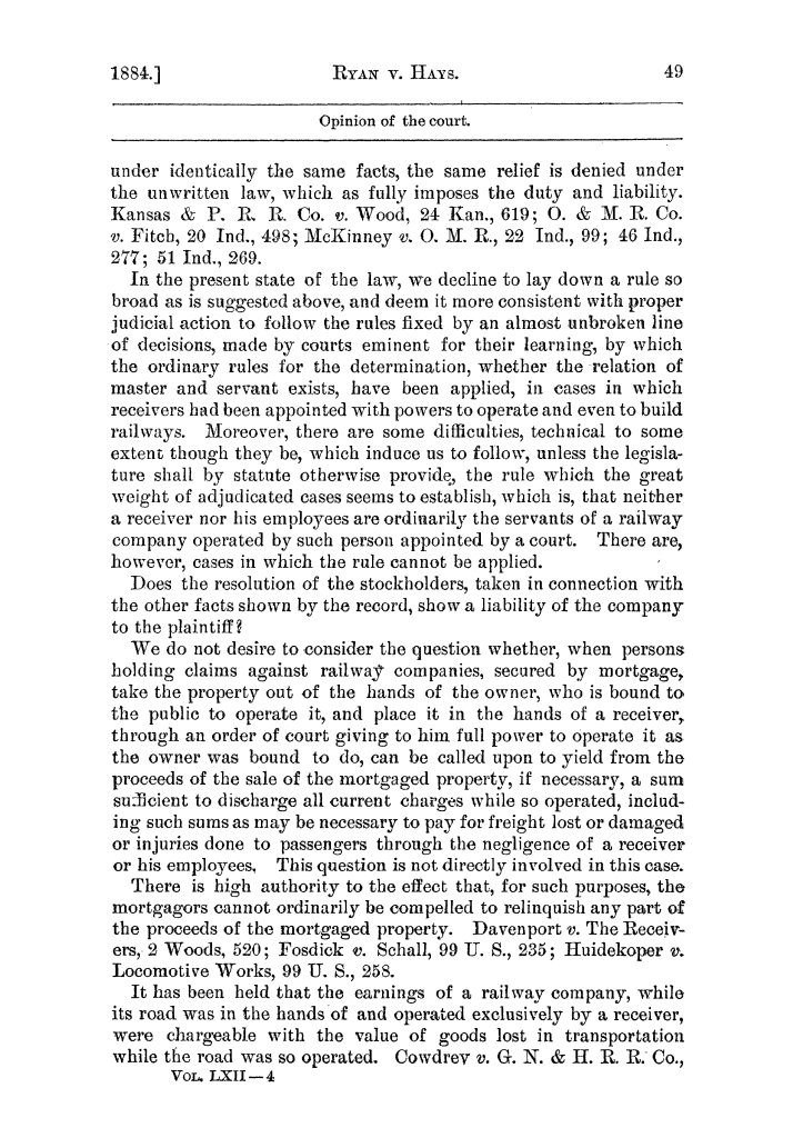Cases argued and decided in the Supreme Court of the State of Texas, during the latter part of the Austin term, 1884, and the Tyler term, 1884.  Volume 62.                                                                                                      49