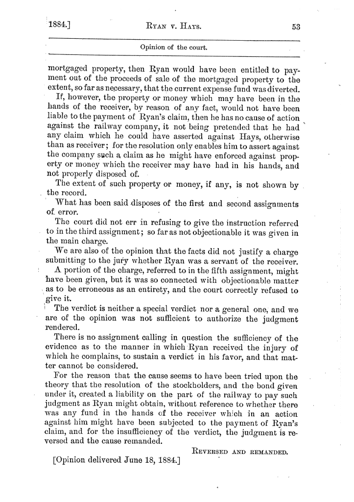 Cases argued and decided in the Supreme Court of the State of Texas, during the latter part of the Austin term, 1884, and the Tyler term, 1884.  Volume 62.                                                                                                      53