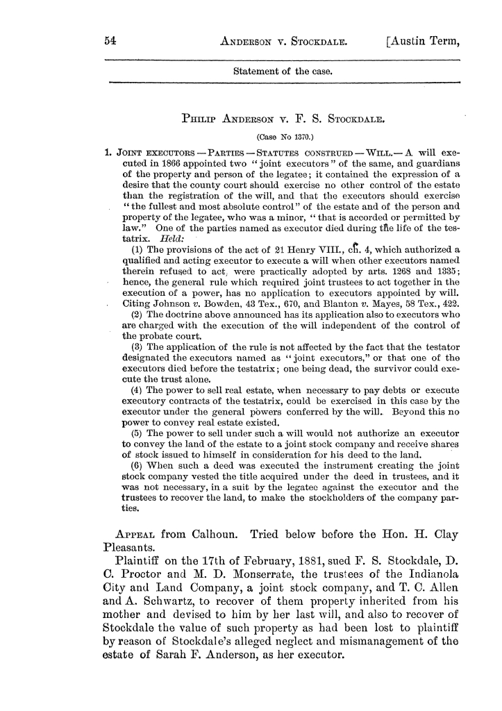 Cases argued and decided in the Supreme Court of the State of Texas, during the latter part of the Austin term, 1884, and the Tyler term, 1884.  Volume 62.                                                                                                      54