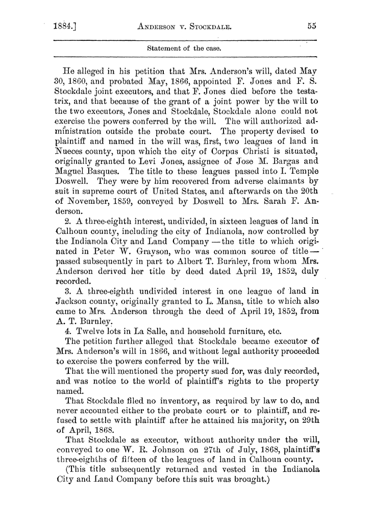 Cases argued and decided in the Supreme Court of the State of Texas, during the latter part of the Austin term, 1884, and the Tyler term, 1884.  Volume 62.                                                                                                      55