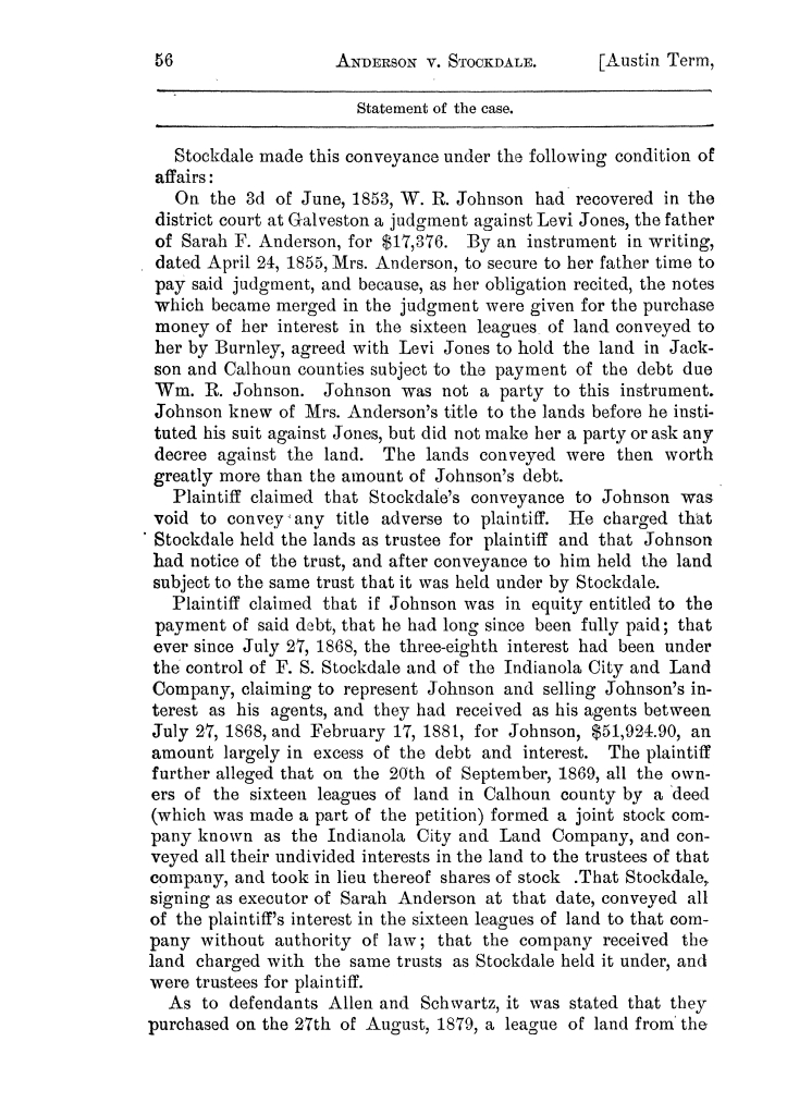 Cases argued and decided in the Supreme Court of the State of Texas, during the latter part of the Austin term, 1884, and the Tyler term, 1884.  Volume 62.                                                                                                      56