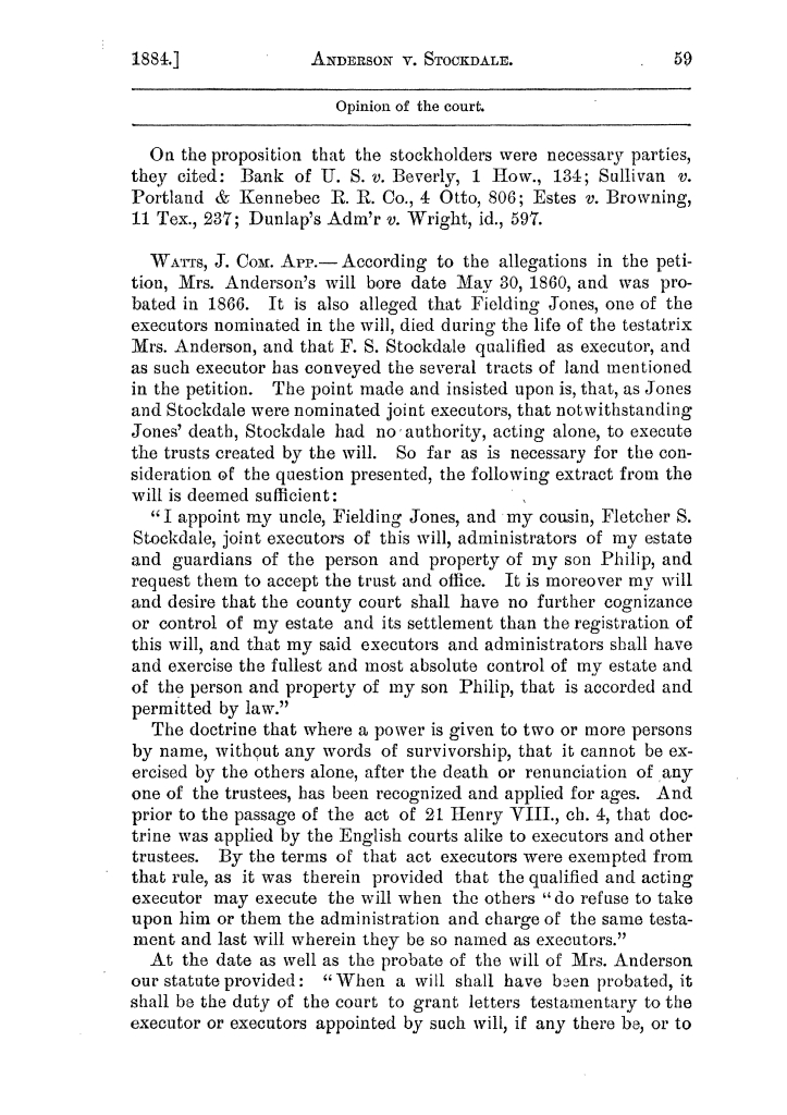 Cases argued and decided in the Supreme Court of the State of Texas, during the latter part of the Austin term, 1884, and the Tyler term, 1884.  Volume 62.                                                                                                      59