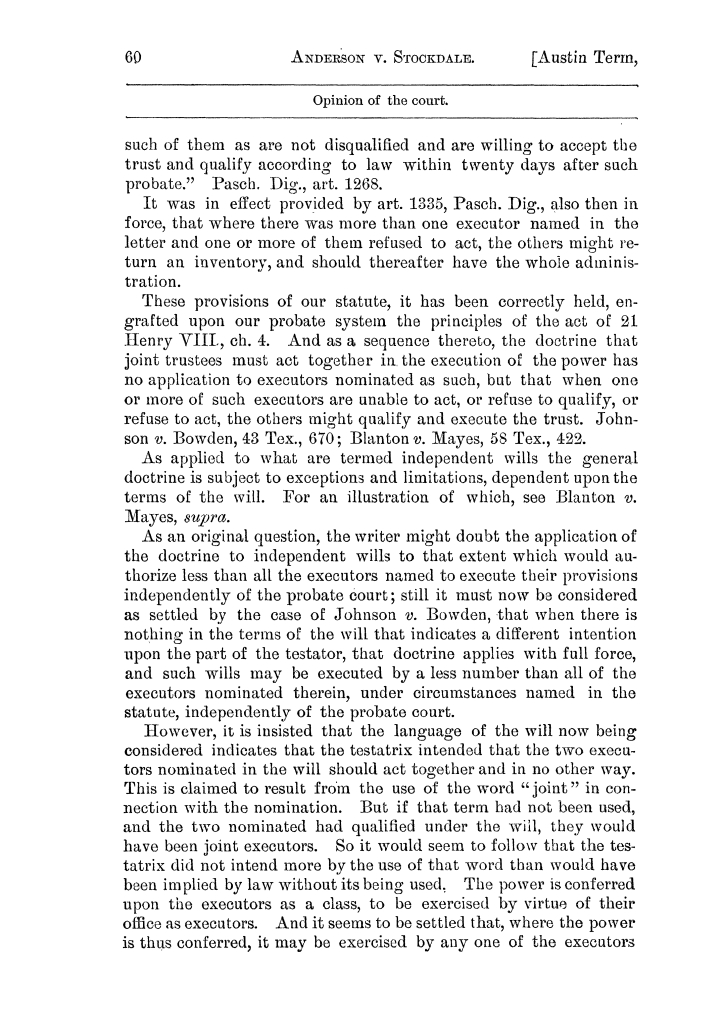 Cases argued and decided in the Supreme Court of the State of Texas, during the latter part of the Austin term, 1884, and the Tyler term, 1884.  Volume 62.                                                                                                      60