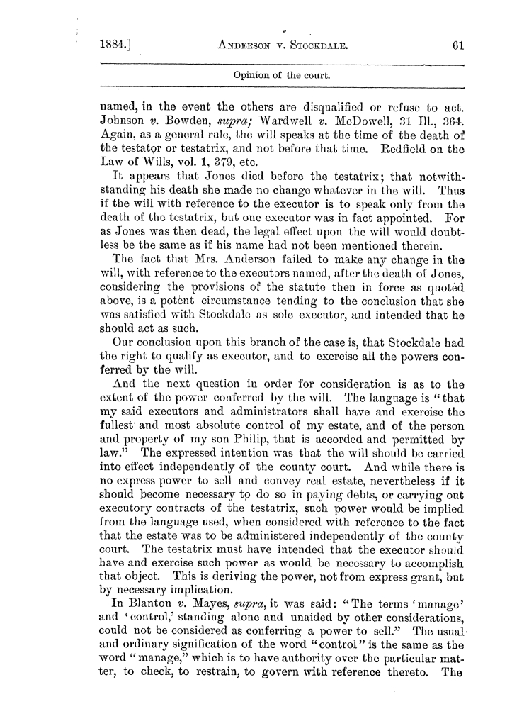 Cases argued and decided in the Supreme Court of the State of Texas, during the latter part of the Austin term, 1884, and the Tyler term, 1884.  Volume 62.                                                                                                      61