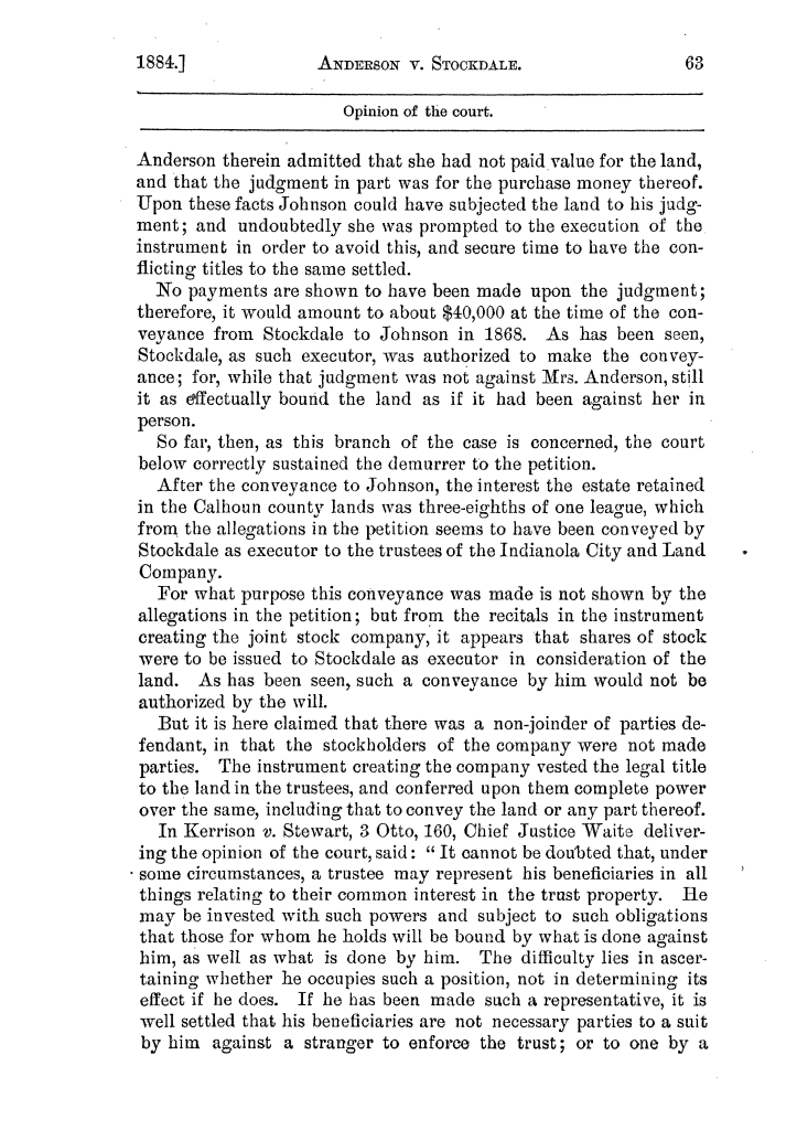 Cases argued and decided in the Supreme Court of the State of Texas, during the latter part of the Austin term, 1884, and the Tyler term, 1884.  Volume 62.                                                                                                      63