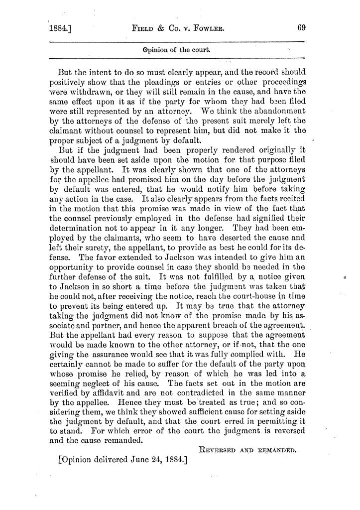 Cases argued and decided in the Supreme Court of the State of Texas, during the latter part of the Austin term, 1884, and the Tyler term, 1884.  Volume 62.                                                                                                      69