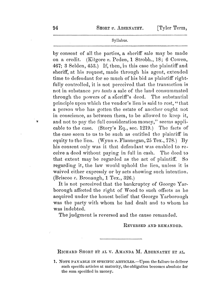 Cases argued and decided in the Supreme Court of Texas, during the latter part of the Tyler term, 1874, and the first part of the Galveston term, 1875.  Volume 42.                                                                                                      94