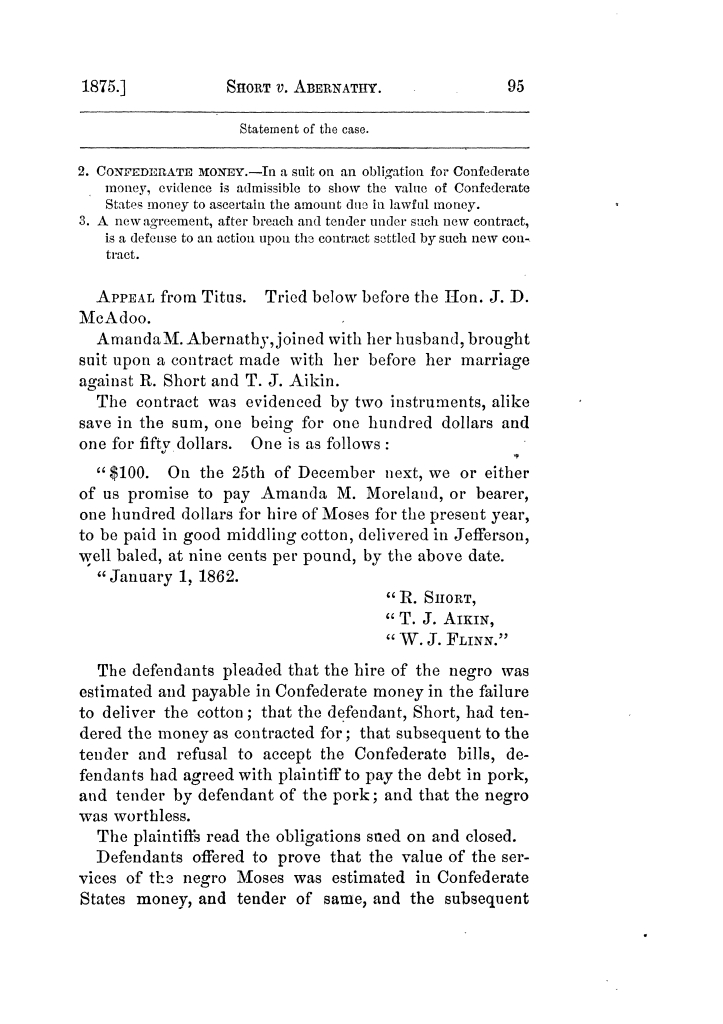 Cases argued and decided in the Supreme Court of Texas, during the latter part of the Tyler term, 1874, and the first part of the Galveston term, 1875.  Volume 42.                                                                                                      95