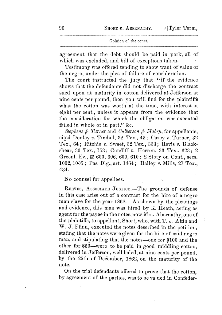 Cases argued and decided in the Supreme Court of Texas, during the latter part of the Tyler term, 1874, and the first part of the Galveston term, 1875.  Volume 42.                                                                                                      96