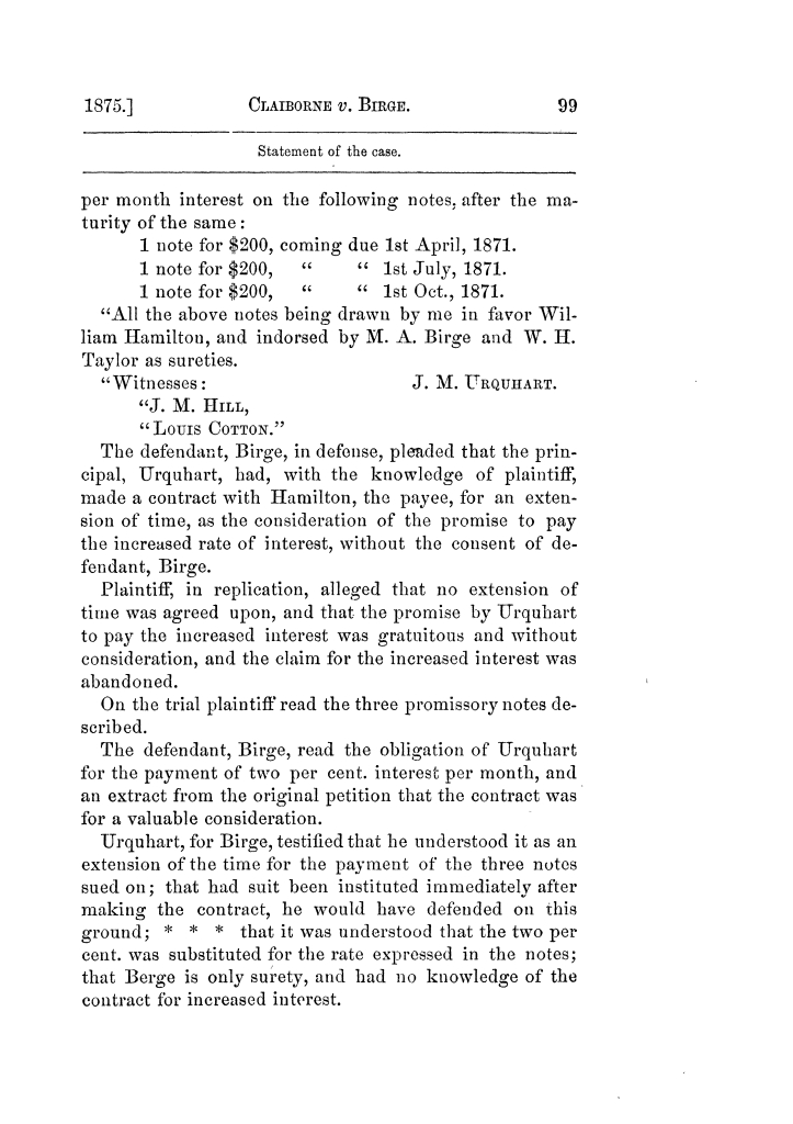 Cases argued and decided in the Supreme Court of Texas, during the latter part of the Tyler term, 1874, and the first part of the Galveston term, 1875.  Volume 42.                                                                                                      99