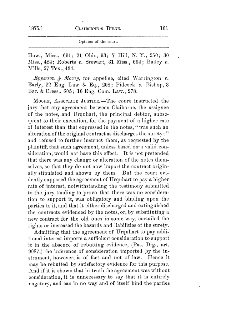 Cases argued and decided in the Supreme Court of Texas, during the latter part of the Tyler term, 1874, and the first part of the Galveston term, 1875.  Volume 42.                                                                                                      101