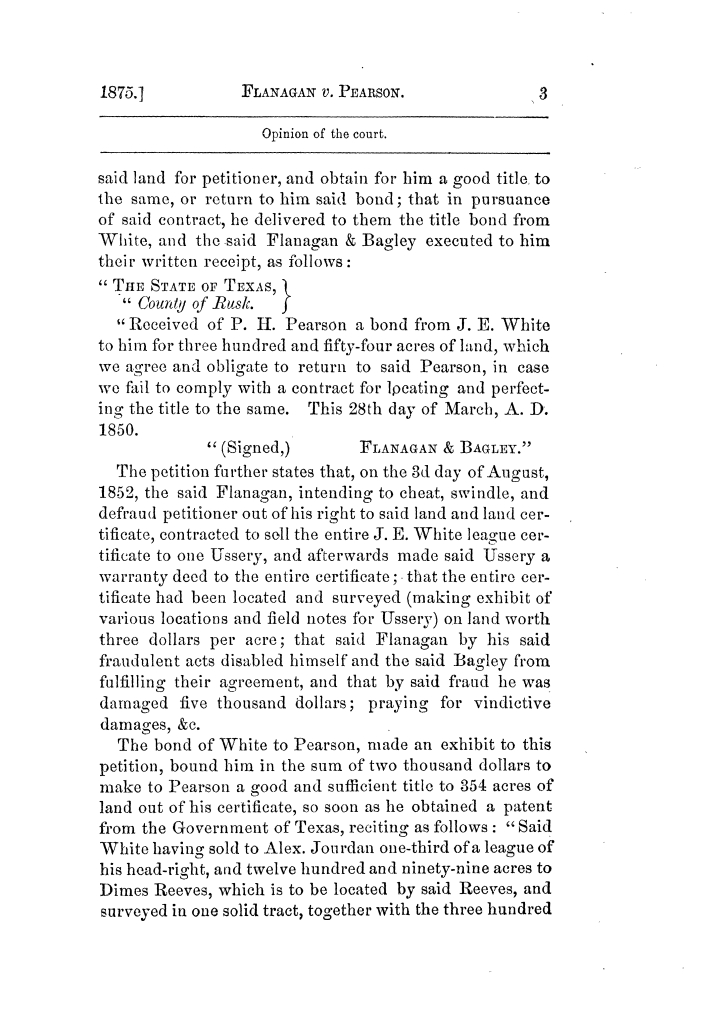 Cases argued and decided in the Supreme Court of Texas, during the latter part of the Tyler term, 1874, and the first part of the Galveston term, 1875.  Volume 42.                                                                                                      3