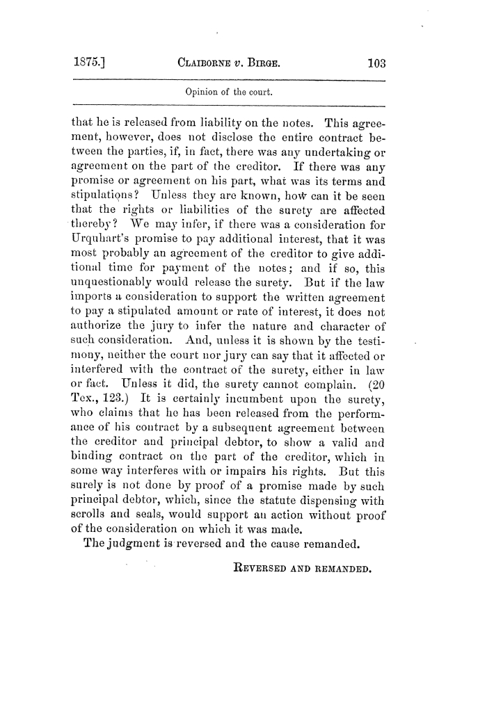 Cases argued and decided in the Supreme Court of Texas, during the latter part of the Tyler term, 1874, and the first part of the Galveston term, 1875.  Volume 42.                                                                                                      103