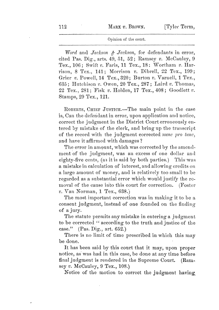 Cases argued and decided in the Supreme Court of Texas, during the latter part of the Tyler term, 1874, and the first part of the Galveston term, 1875.  Volume 42.                                                                                                      112