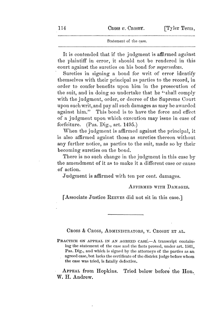 Cases argued and decided in the Supreme Court of Texas, during the latter part of the Tyler term, 1874, and the first part of the Galveston term, 1875.  Volume 42.                                                                                                      114