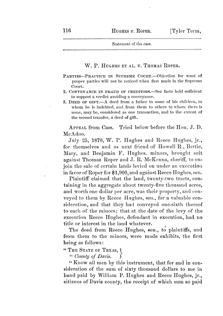 Cases argued and decided in the Supreme Court of Texas, during the latter part of the Tyler term, 1874, and the first part of the Galveston term, 1875.  Volume 42.                                                                                                      116