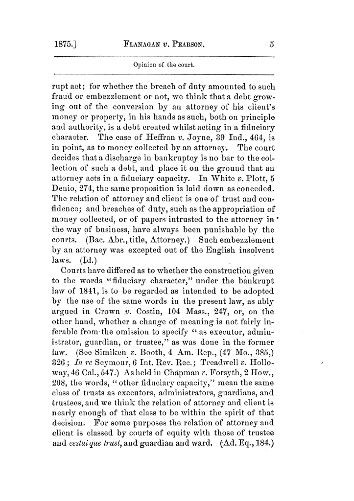Cases argued and decided in the Supreme Court of Texas, during the latter part of the Tyler term, 1874, and the first part of the Galveston term, 1875.  Volume 42.                                                                                                      5
