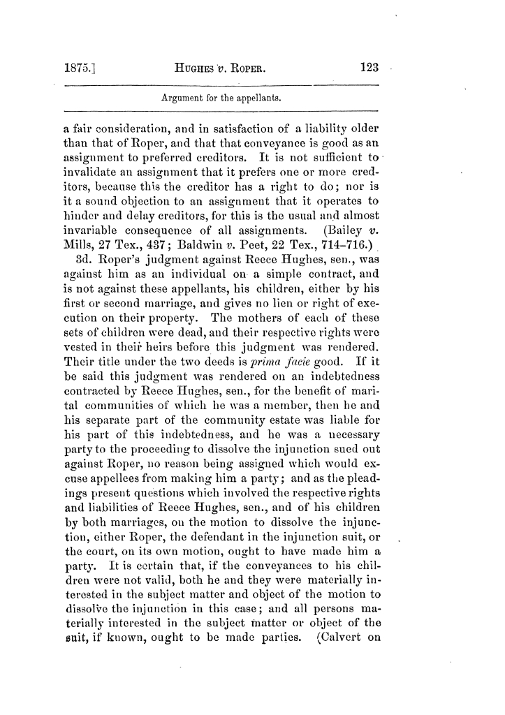 Cases argued and decided in the Supreme Court of Texas, during the latter part of the Tyler term, 1874, and the first part of the Galveston term, 1875.  Volume 42.                                                                                                      123