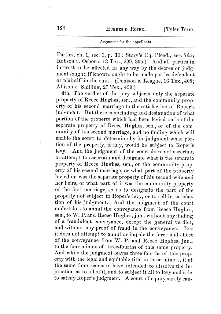 Cases argued and decided in the Supreme Court of Texas, during the latter part of the Tyler term, 1874, and the first part of the Galveston term, 1875.  Volume 42.                                                                                                      124