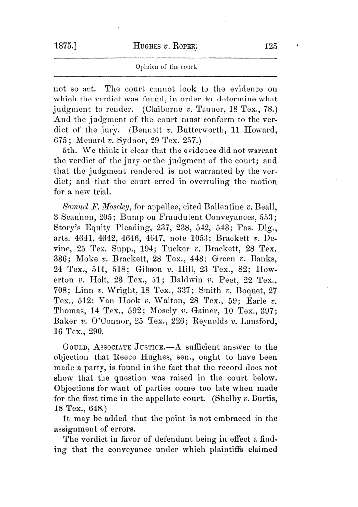 Cases argued and decided in the Supreme Court of Texas, during the latter part of the Tyler term, 1874, and the first part of the Galveston term, 1875.  Volume 42.                                                                                                      125