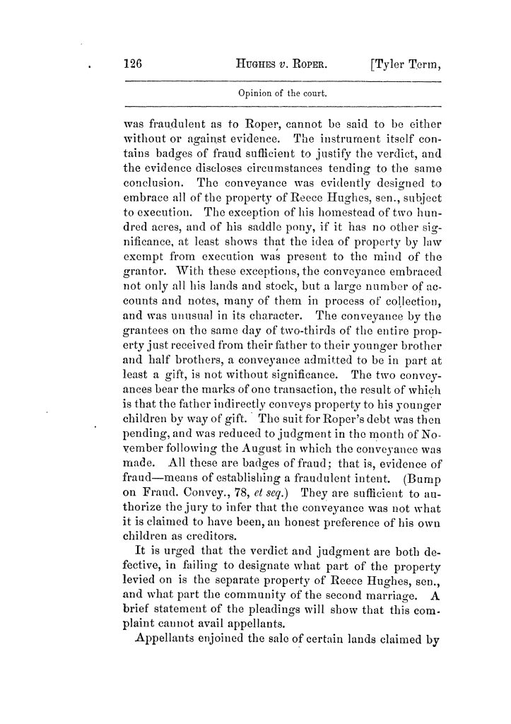 Cases argued and decided in the Supreme Court of Texas, during the latter part of the Tyler term, 1874, and the first part of the Galveston term, 1875.  Volume 42.                                                                                                      126