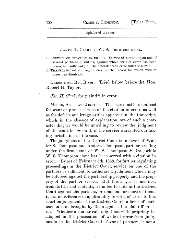 Cases argued and decided in the Supreme Court of Texas, during the latter part of the Tyler term, 1874, and the first part of the Galveston term, 1875.  Volume 42.                                                                                                      128