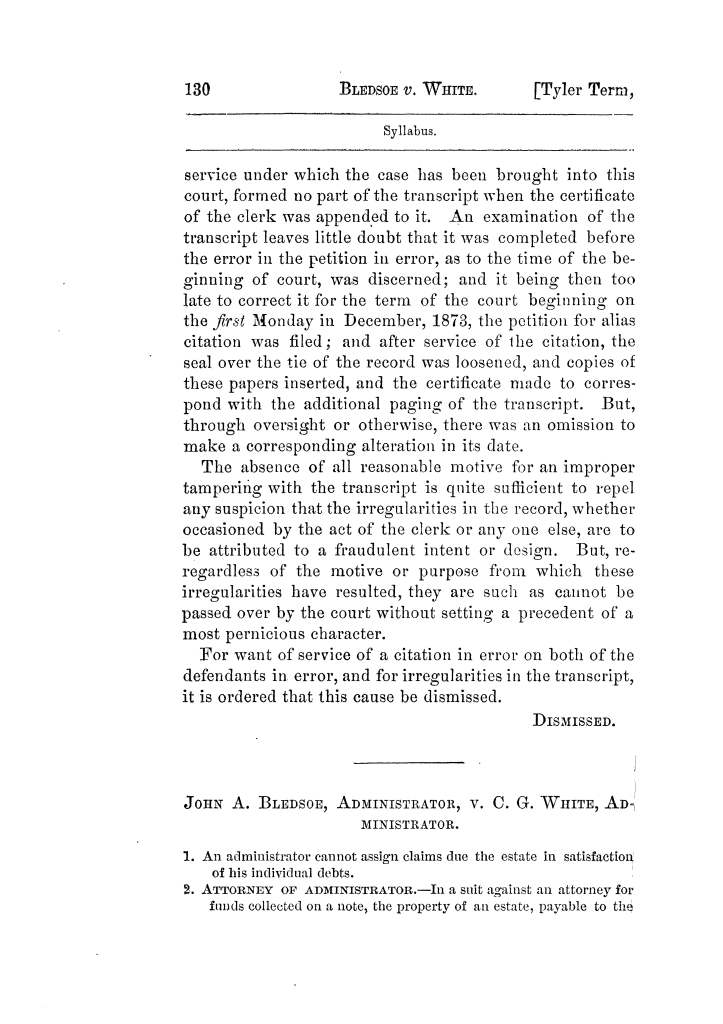 Cases argued and decided in the Supreme Court of Texas, during the latter part of the Tyler term, 1874, and the first part of the Galveston term, 1875.  Volume 42.                                                                                                      130
