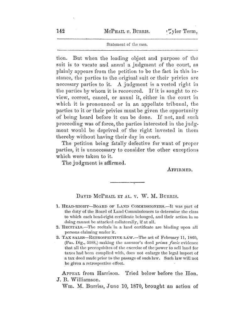 Cases argued and decided in the Supreme Court of Texas, during the latter part of the Tyler term, 1874, and the first part of the Galveston term, 1875.  Volume 42.                                                                                                      142