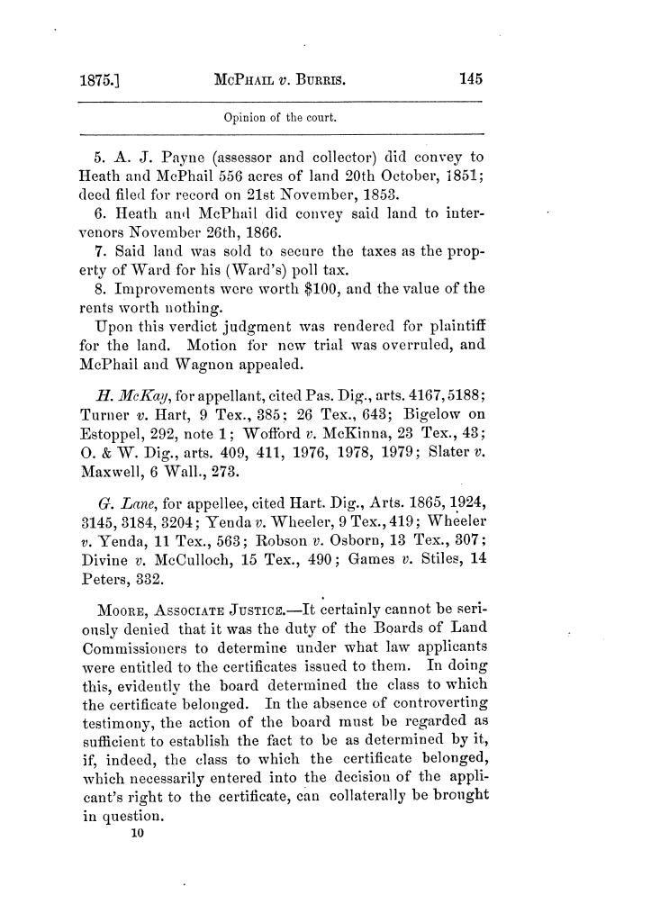Cases argued and decided in the Supreme Court of Texas, during the latter part of the Tyler term, 1874, and the first part of the Galveston term, 1875.  Volume 42.                                                                                                      145