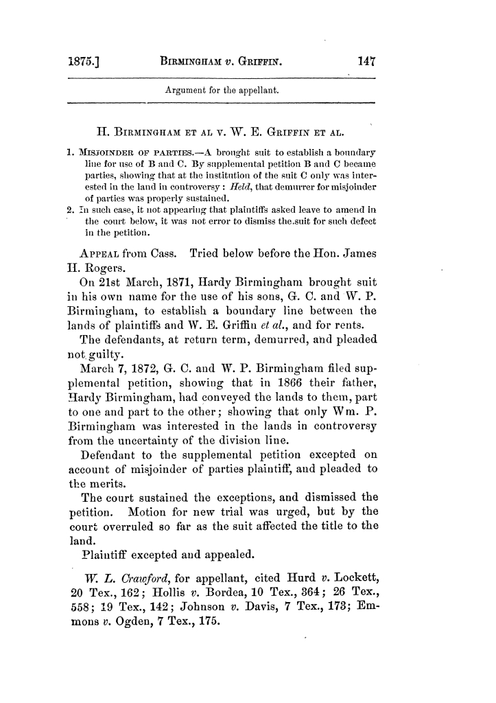 Cases argued and decided in the Supreme Court of Texas, during the latter part of the Tyler term, 1874, and the first part of the Galveston term, 1875.  Volume 42.                                                                                                      147