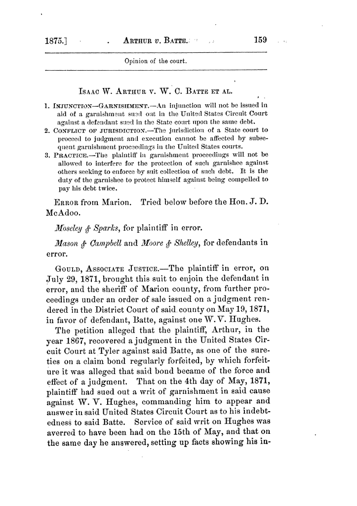 Cases argued and decided in the Supreme Court of Texas, during the latter part of the Tyler term, 1874, and the first part of the Galveston term, 1875.  Volume 42.                                                                                                      159