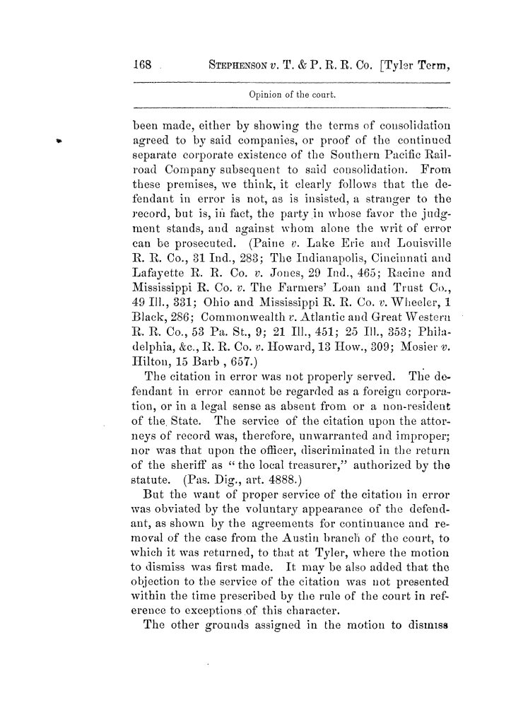 Cases argued and decided in the Supreme Court of Texas, during the latter part of the Tyler term, 1874, and the first part of the Galveston term, 1875.  Volume 42.                                                                                                      168